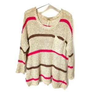 Free People oversized striped cotton blend sweater